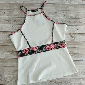 White with black floral tank top NWT